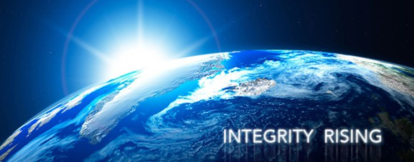 """sun rising over horizon of the earth, caption reads """"integrity rising"""""""